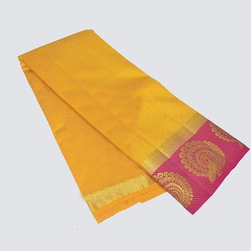 Snazzy Yellow Colored Festive Wear Cotton Silk Saree