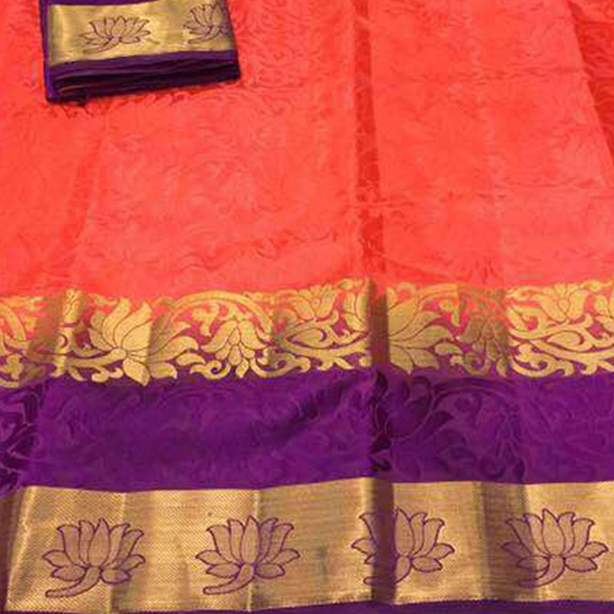 Intricate Crimson Red Colored Festive Wear Cotton Silk Saree