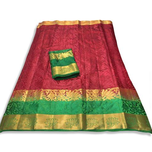 Sophisticated  Maroon Colored Festive Wear Cotton Silk Saree