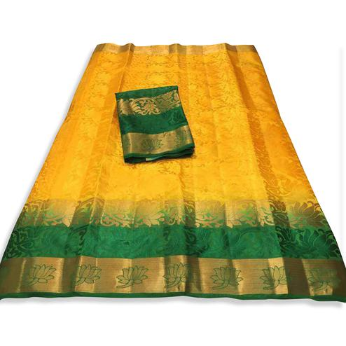 Opulent Yellow-Green Colored Festive Wear Cotton Silk Saree
