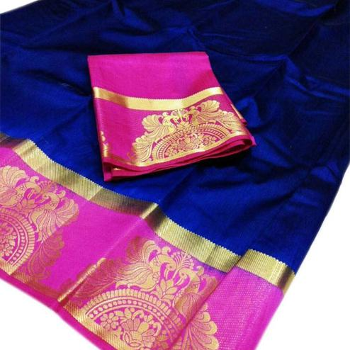 Ravishing Royal Blue Colored Festive Wear Cotton Silk Saree