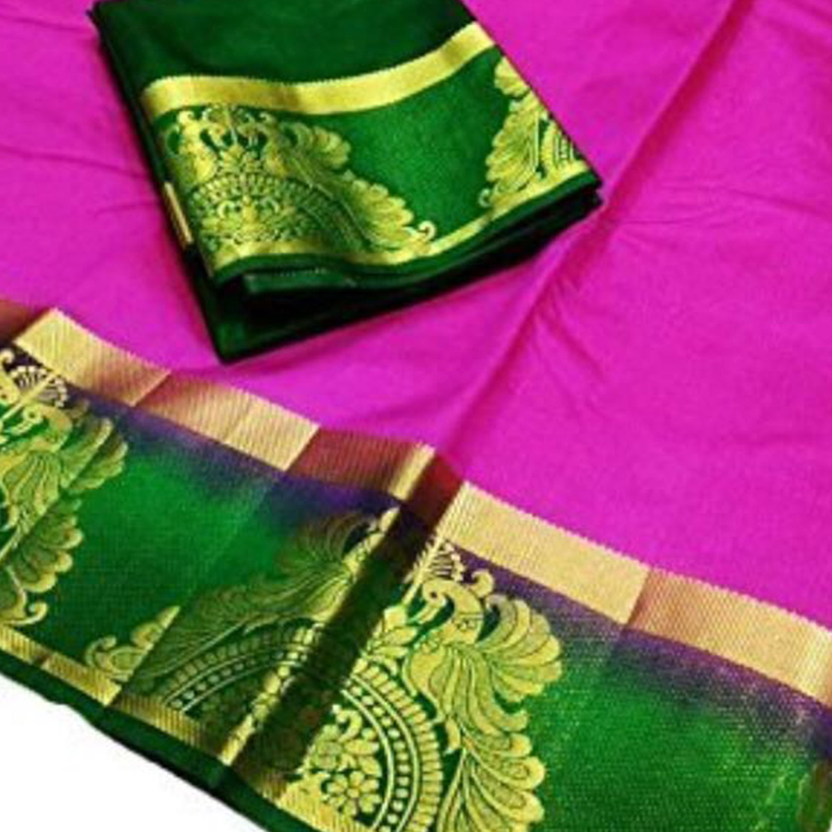 Extraordinary Deep Pink Colored Festive Wear Cotton Silk Saree