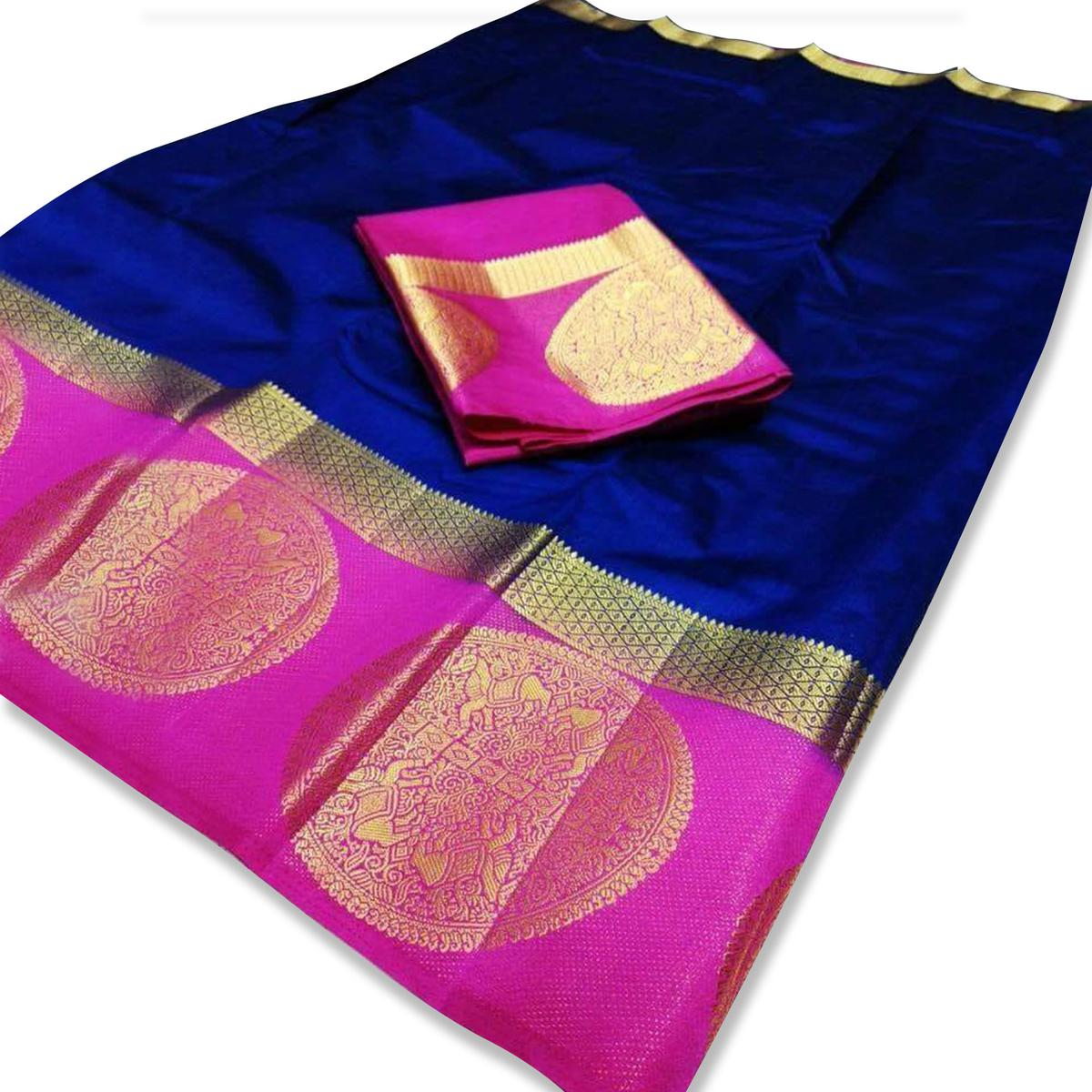 Flattering Royal Blue Colored Festive Wear Cotton Silk Saree
