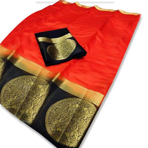 Lovely Red Colored Festive Wear Cotton Silk Saree