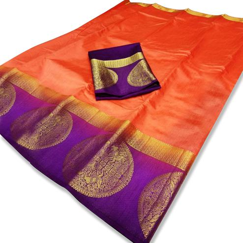 Exotic Orange Colored Festive Wear Cotton Silk Saree