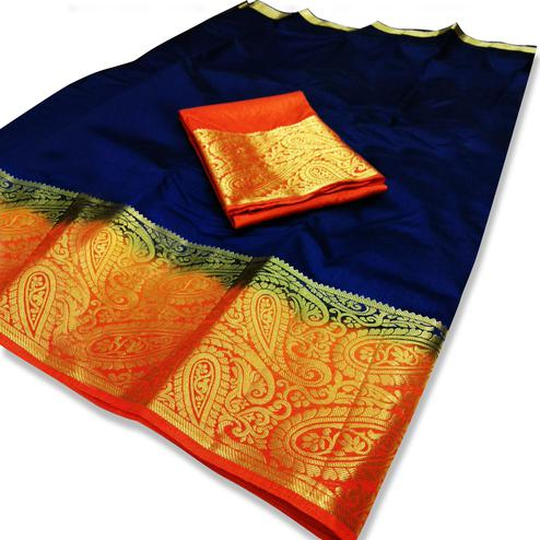 Amazing Royal Blue-Orange Colored Festive Wear Cotton Silk Saree