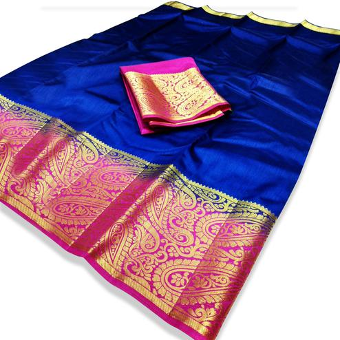 Delightful Royal Blue Colored Festive Wear Cotton Silk Saree