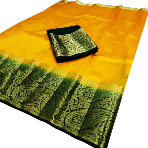 Preferable Yellow Colored Festive Wear Cotton Silk Saree