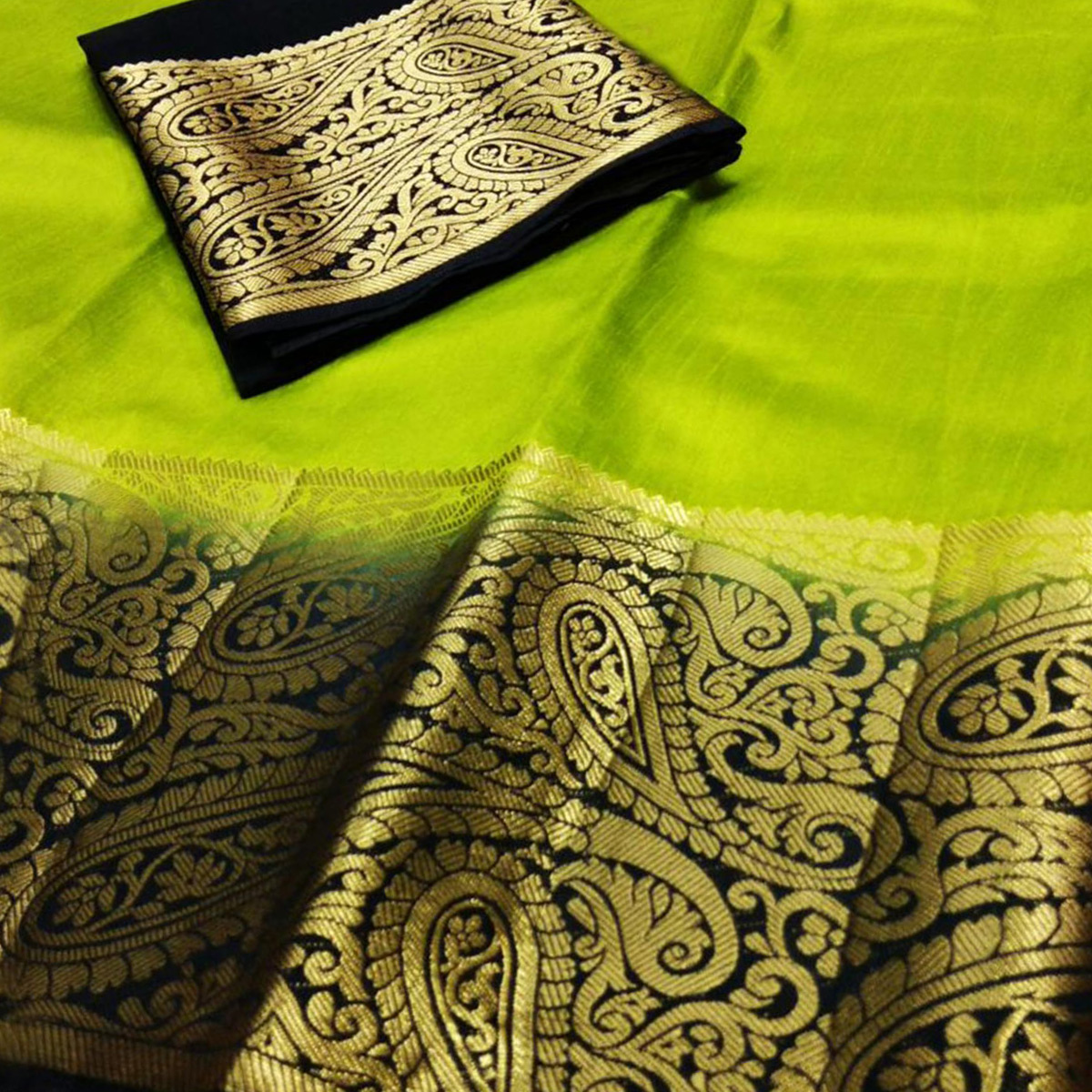 Energetic Light Green-Black Colored Festive Wear Cotton Silk Saree