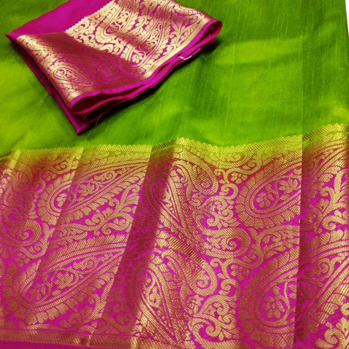 Desirable  Green-Pink Colored Festive Wear Cotton Silk Saree