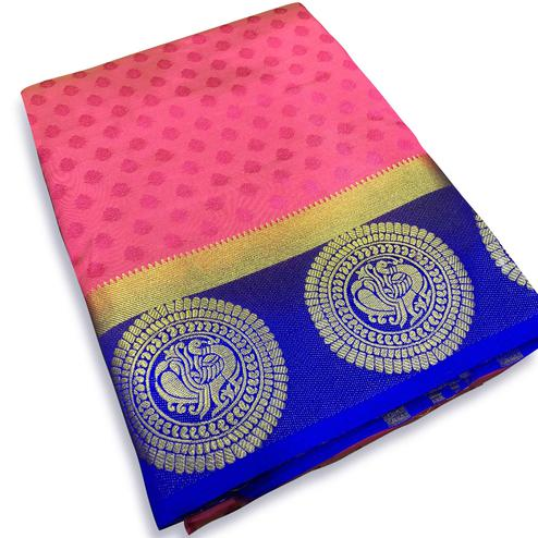 Unique Pink Colored Festive Wear Cotton Silk Saree