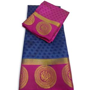 Awesome Blue-Pink Colored Festive Wear Cotton Silk Saree