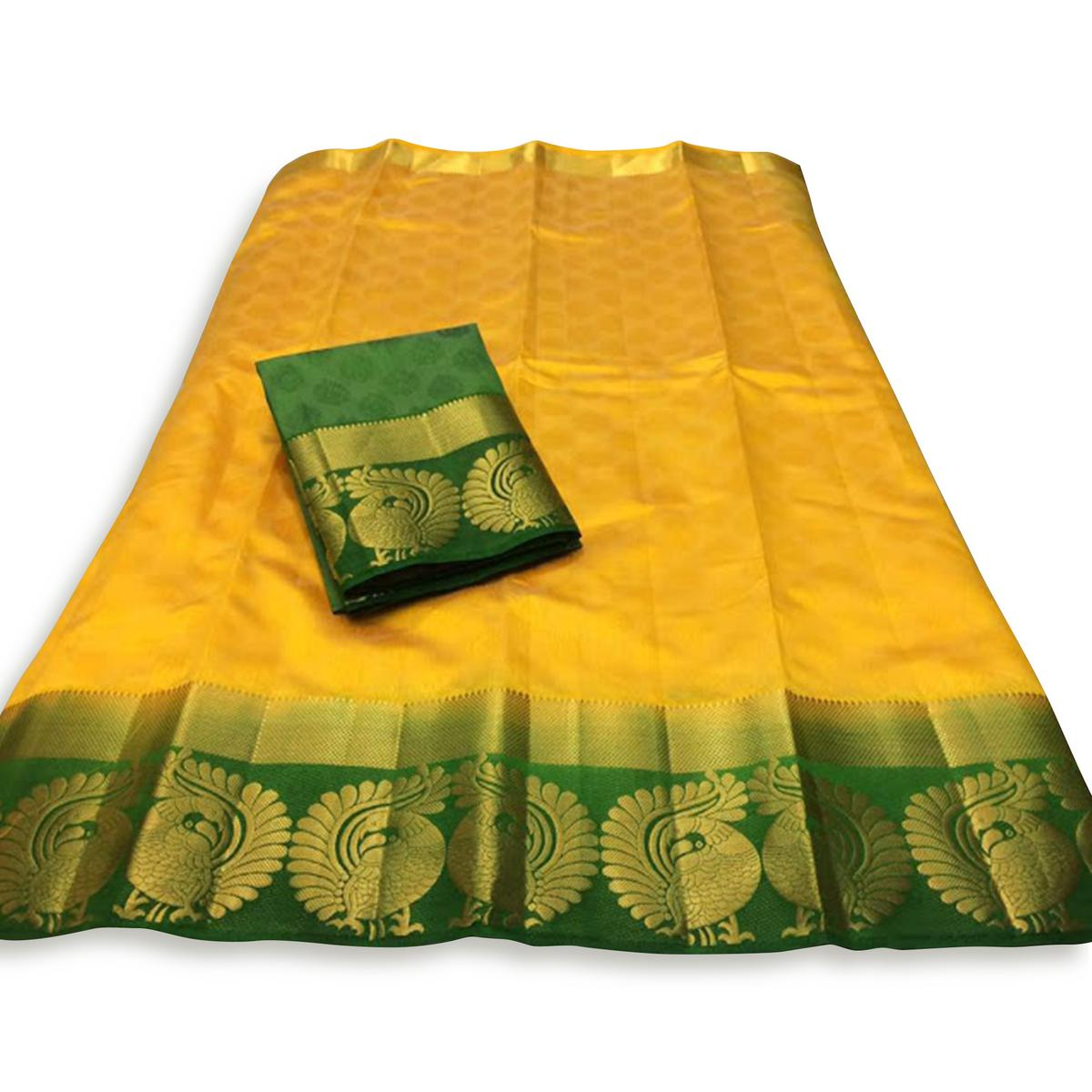 Marvellous Yellow-Green Colored Festive Wear Cotton Silk Saree
