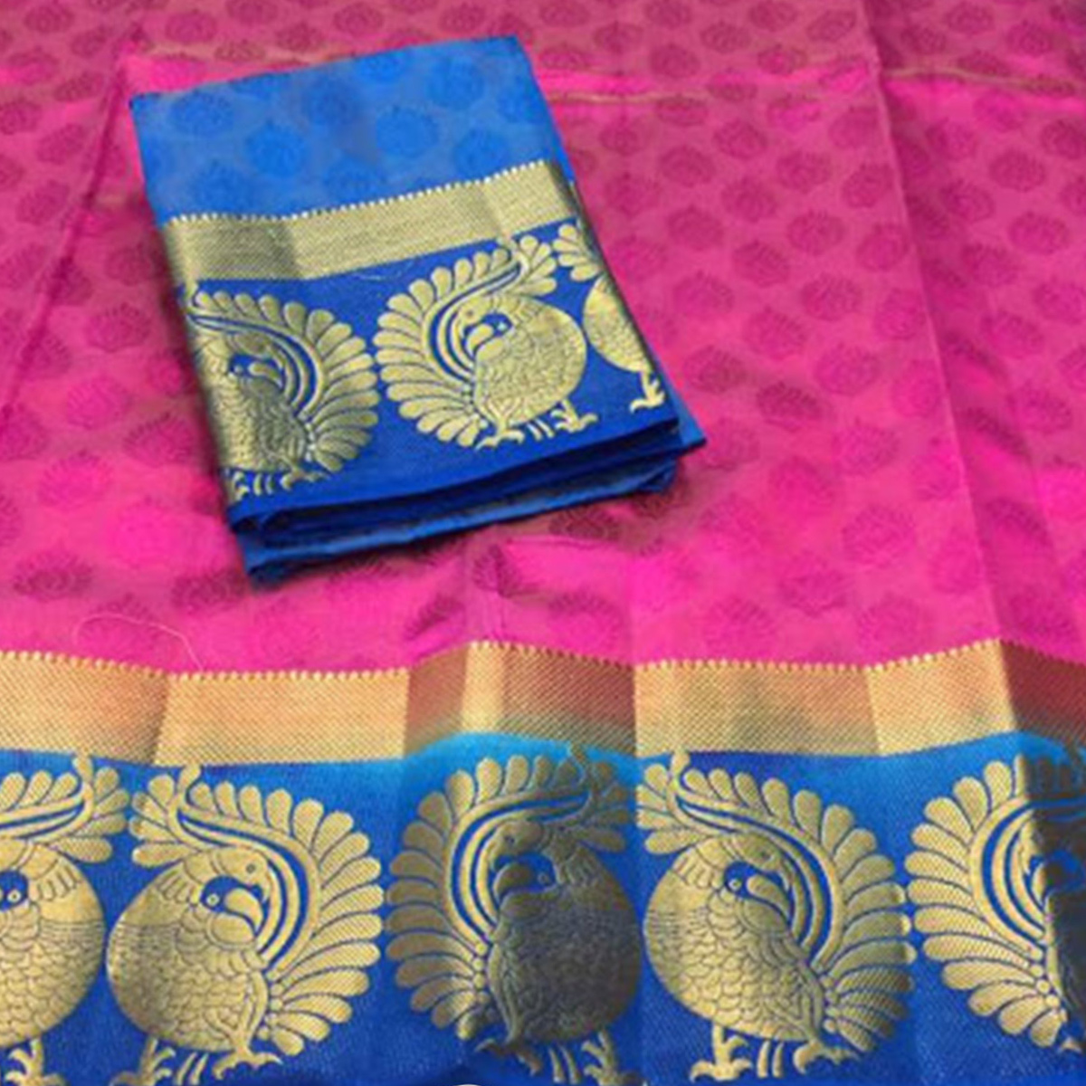 Elegant Pink-Blue Colored Festive Wear Cotton Silk Saree