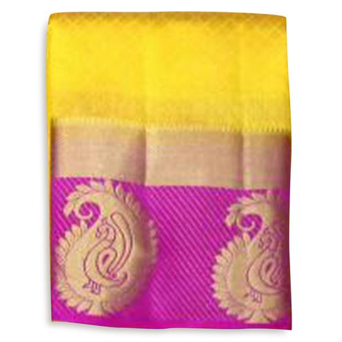 Precious Yellow-Pink Colored Festive Wear Cotton Silk Saree