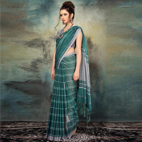 Refreshing Green Colored Casual Silk Saree