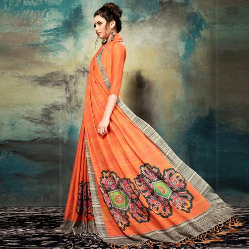 Vivid Orange Colored Casual Wear Silk Saree