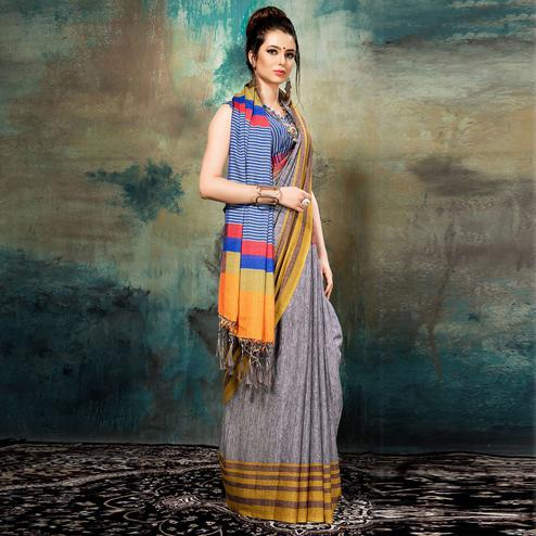 Vibrant Grey Colored Casual Wear Silk Saree
