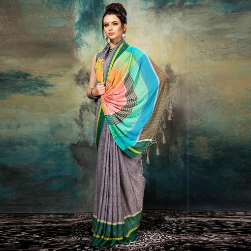 Striking Grey Colored Casual Wear Silk Saree