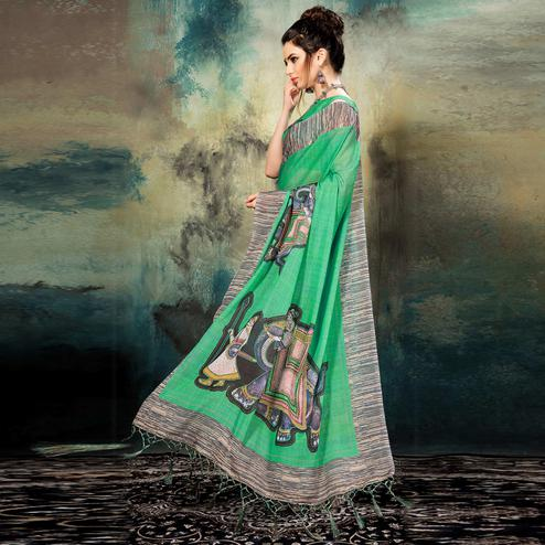 Rejuvenating Green Colored Casual Wear Silk Saree