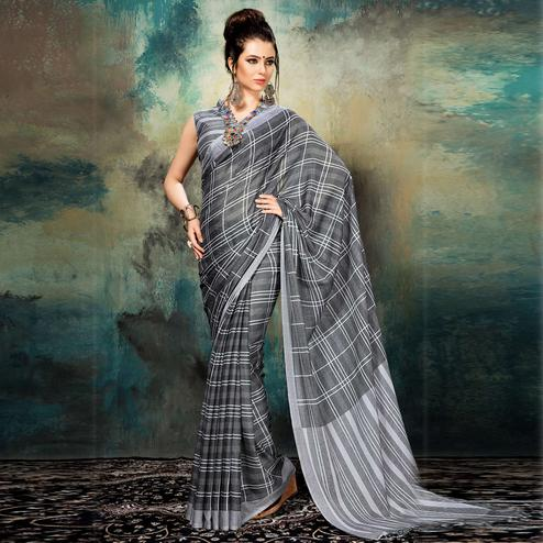 Substantial Grey Colored Casual Wear Silk Saree