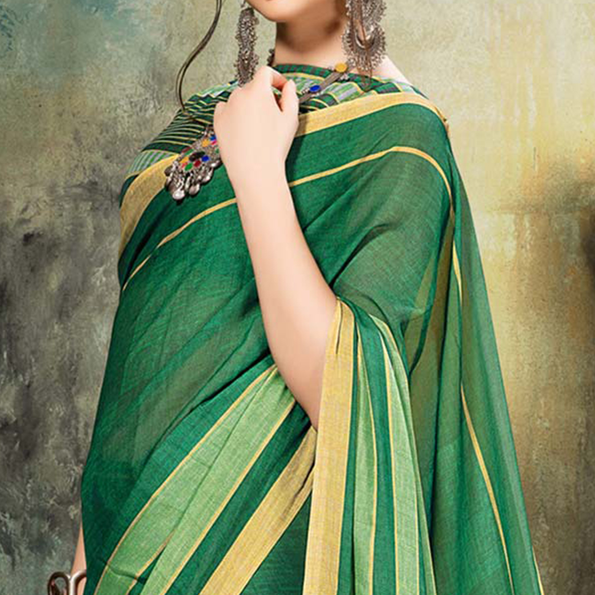 Empowering Green Colored Casual Wear Saree