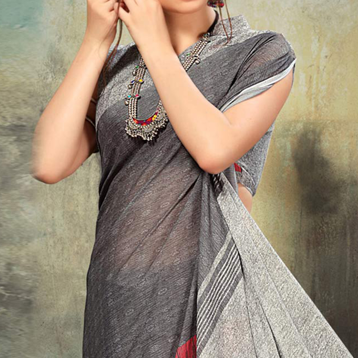 Graceful Grey Colored Casual Wear Silk Saree