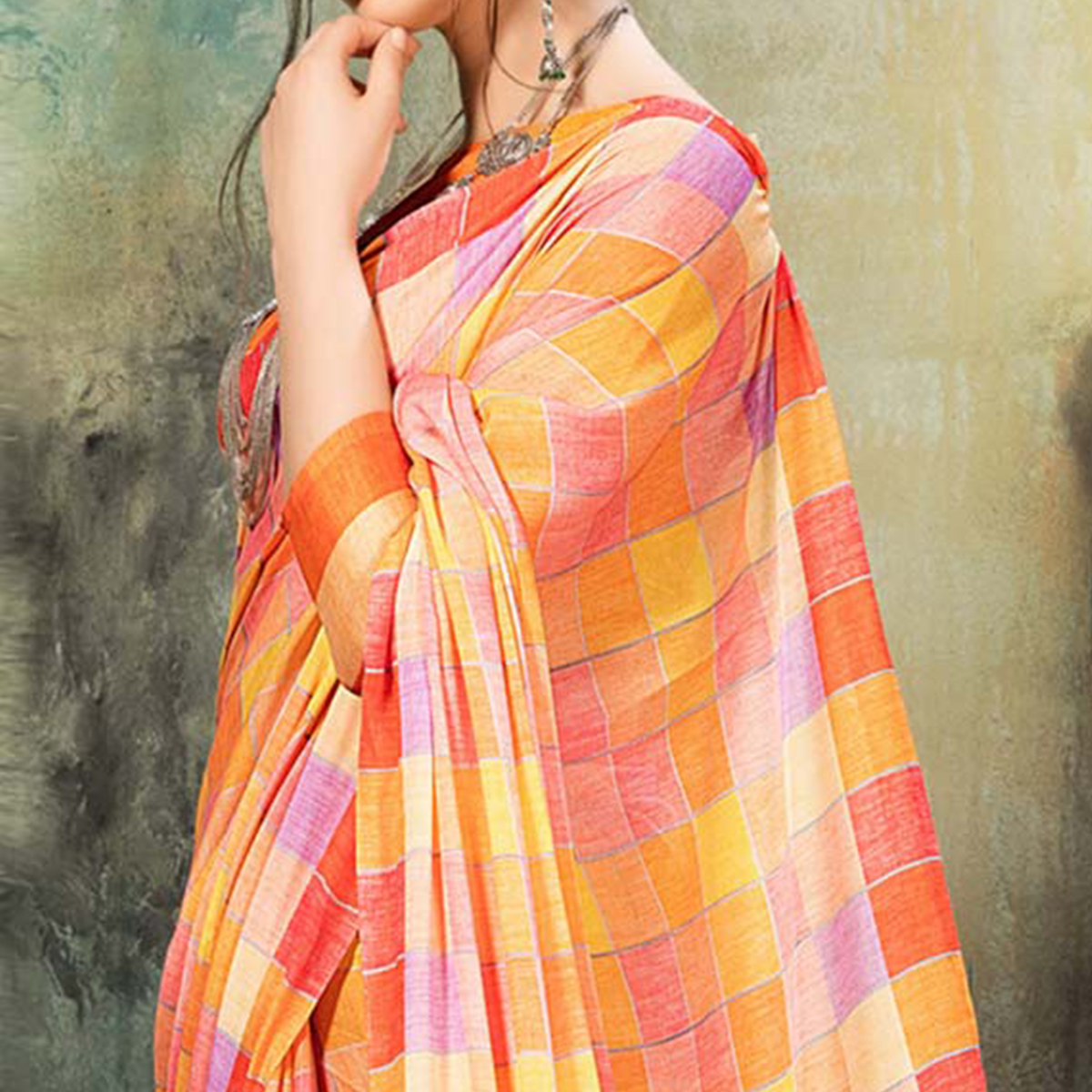 Dazzling Orange Colored Casual Wear Silk Saree