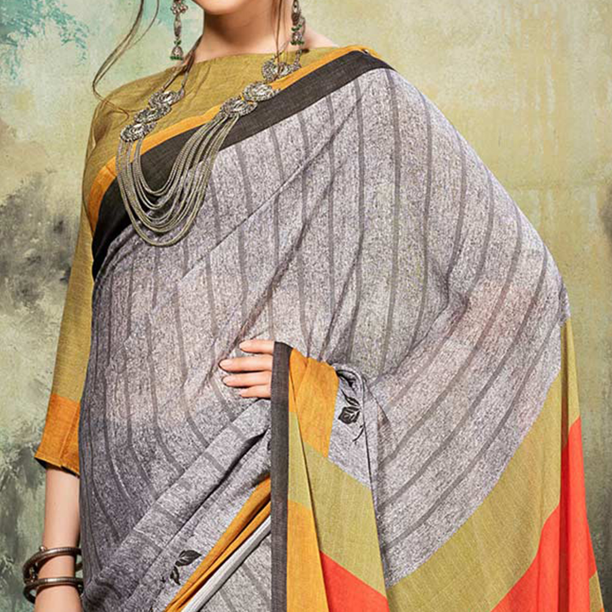 Marvellous Grey Colored Casual Wear Silk Saree