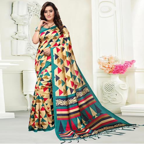 Elegant Beige Colored Casual Wear Art Silk Saree