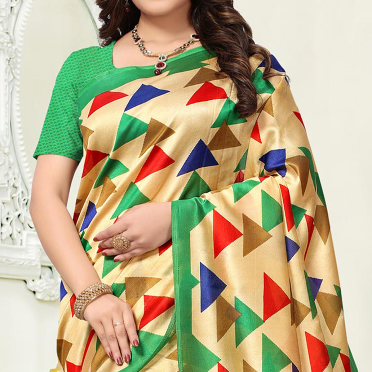 Aesthetic Beige Colored Casual Wear Art Silk Saree.