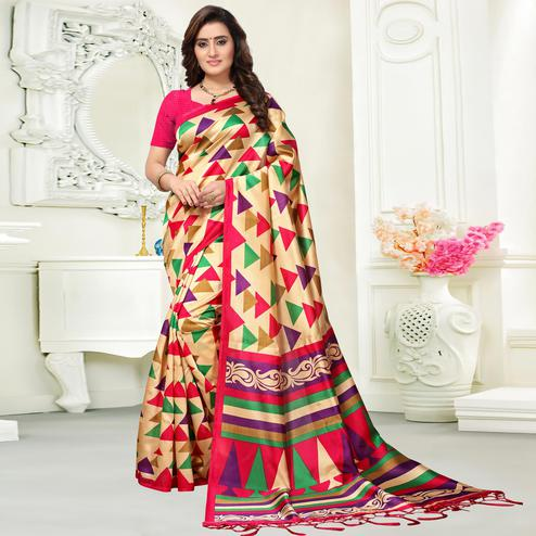 Artistic Beige Colored Casual Wear Art Silk Saree
