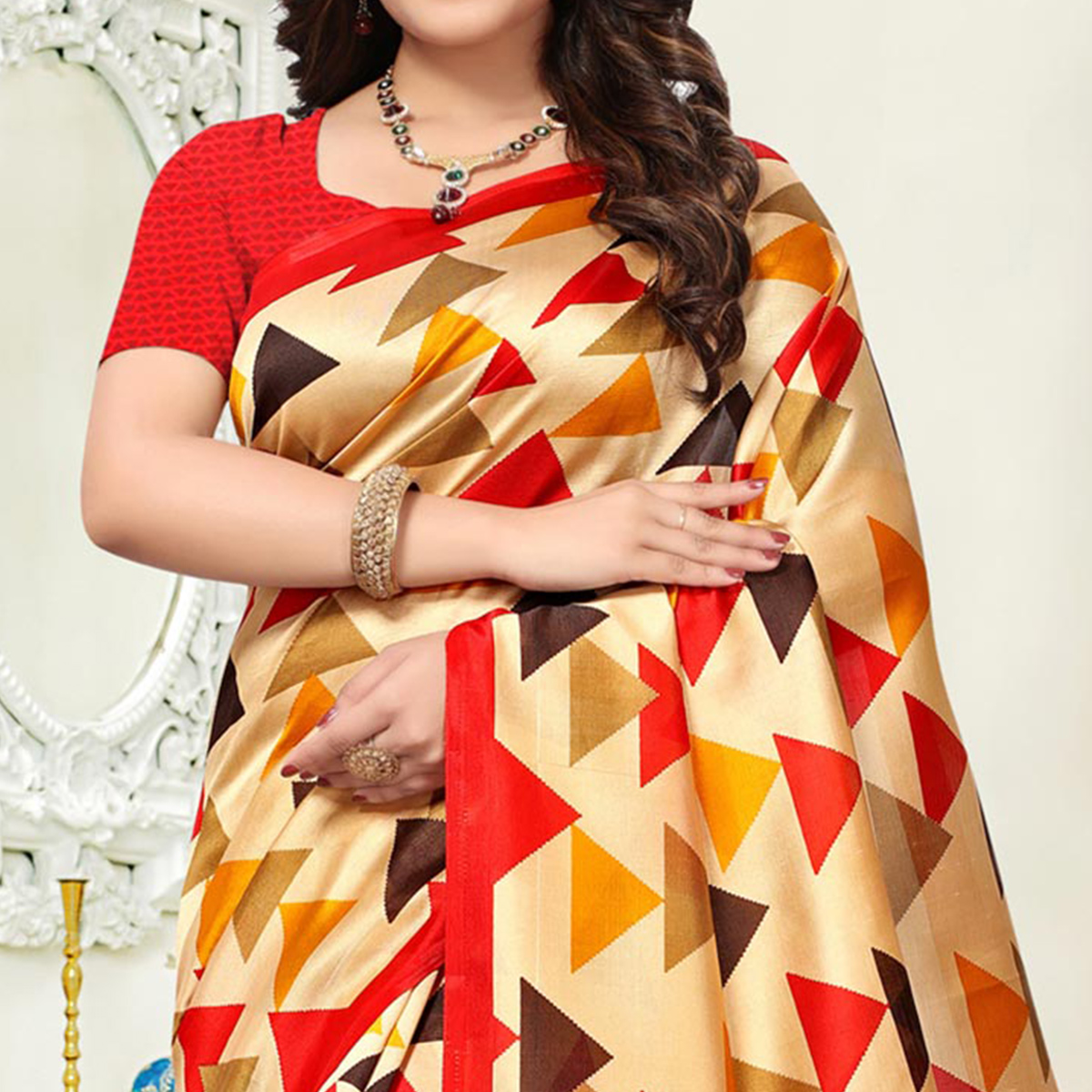 Stunning Beige Colored Casual Wear Art Silk Saree