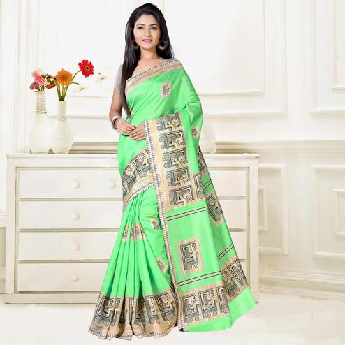 Glaring Green Colored Casual Wear Art Silk Saree