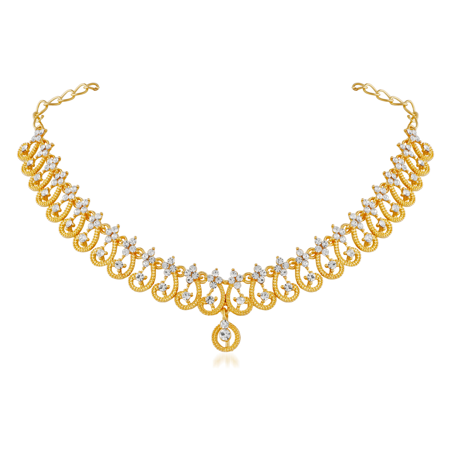 Elegant Diamond Gold Finish Necklace Set