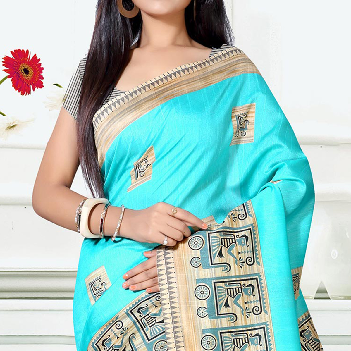 Blooming Blue Colored Casual Wear Art Silk Saree