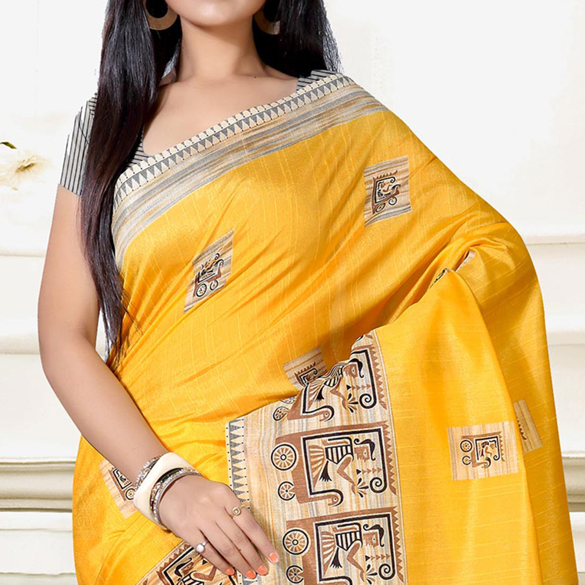 Glowing Yellow Colored Casual Wear Art Silk Saree