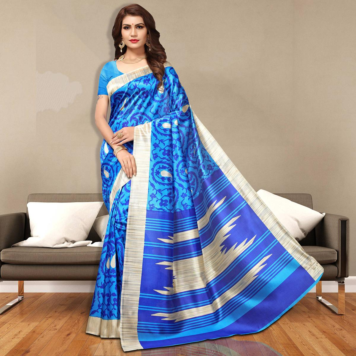 Gorgeous Blue Colored Casual Wear Art Silk Saree