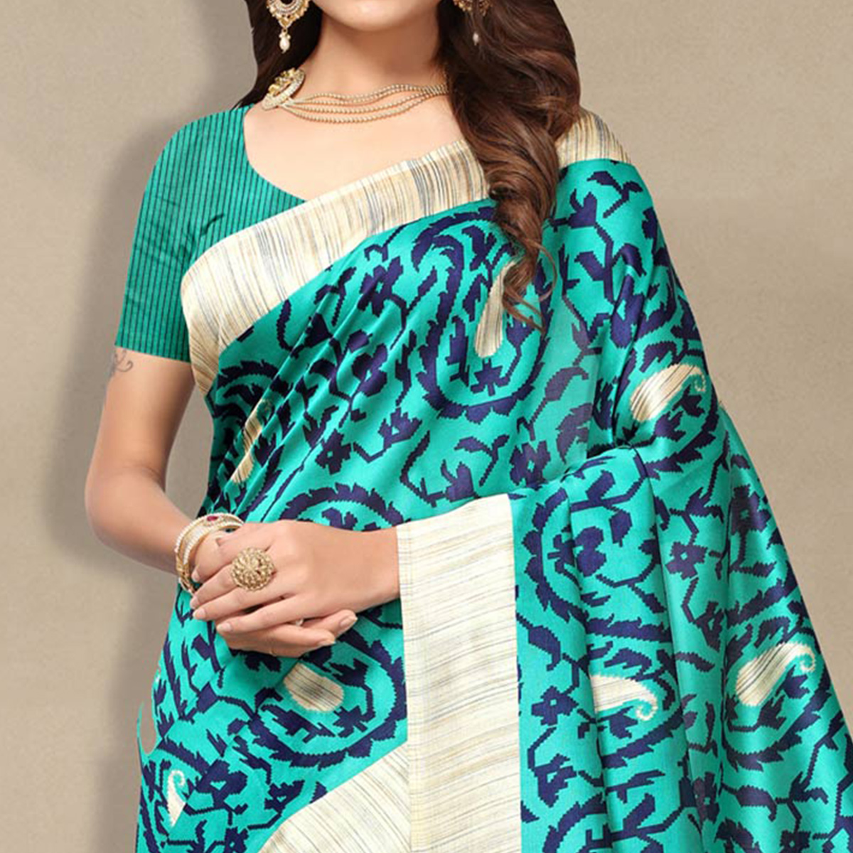Triumph Turquoise Colored Casual Wear Art Silk Saree