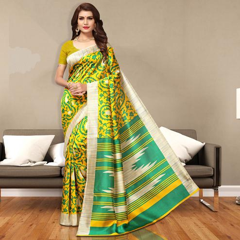 Vivid Yellow Colored Casual Wear Art Silk Saree