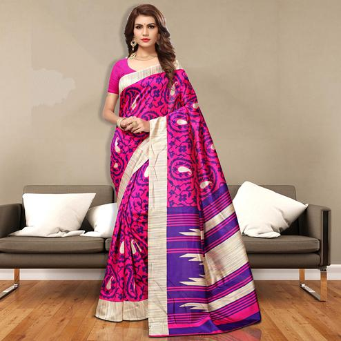Vibrant Pink Colored Casual Wear Art Silk Saree