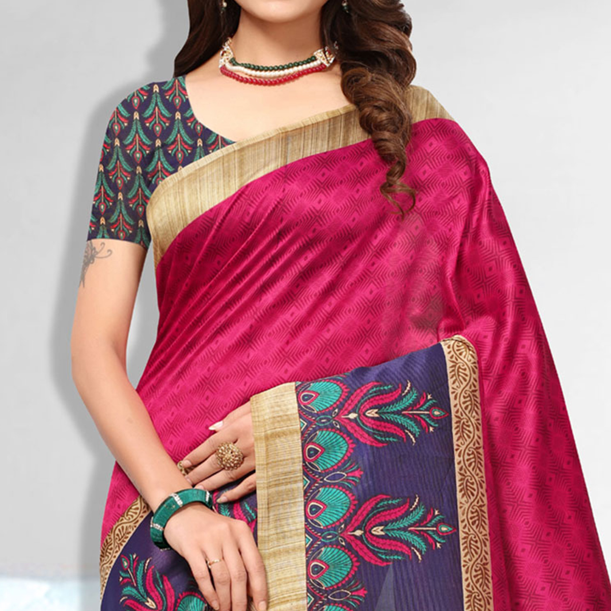 Bold Pink Colored Casual Wear Art Silk Saree