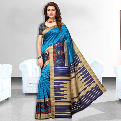 Blissful Blue Colored Casual Wear Art Silk Saree