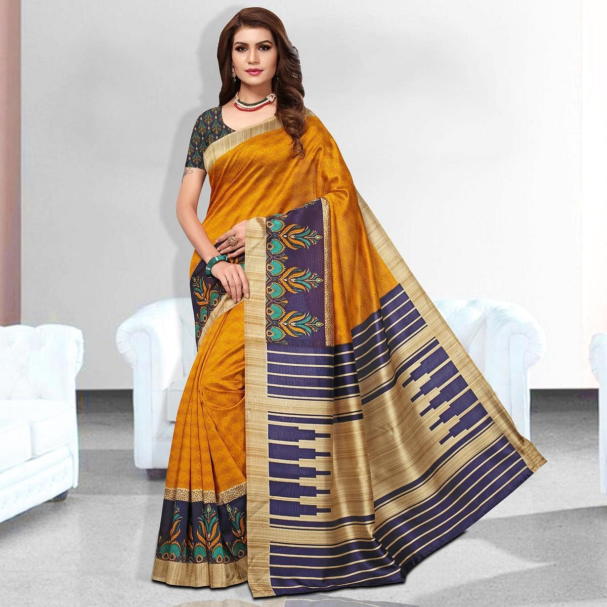 Pleasant Yellow Colored Casual Wear Art Silk Saree