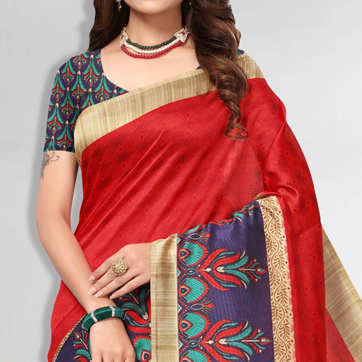 Ravishing Red Colored Casual Wear Art Silk Saree