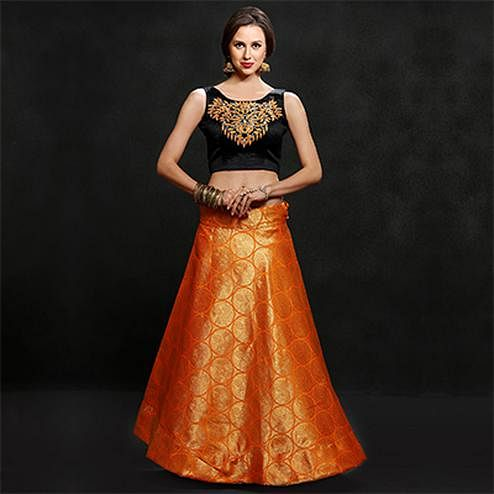 Luscious Orange Banarasi Jacquard Lehenga Choli