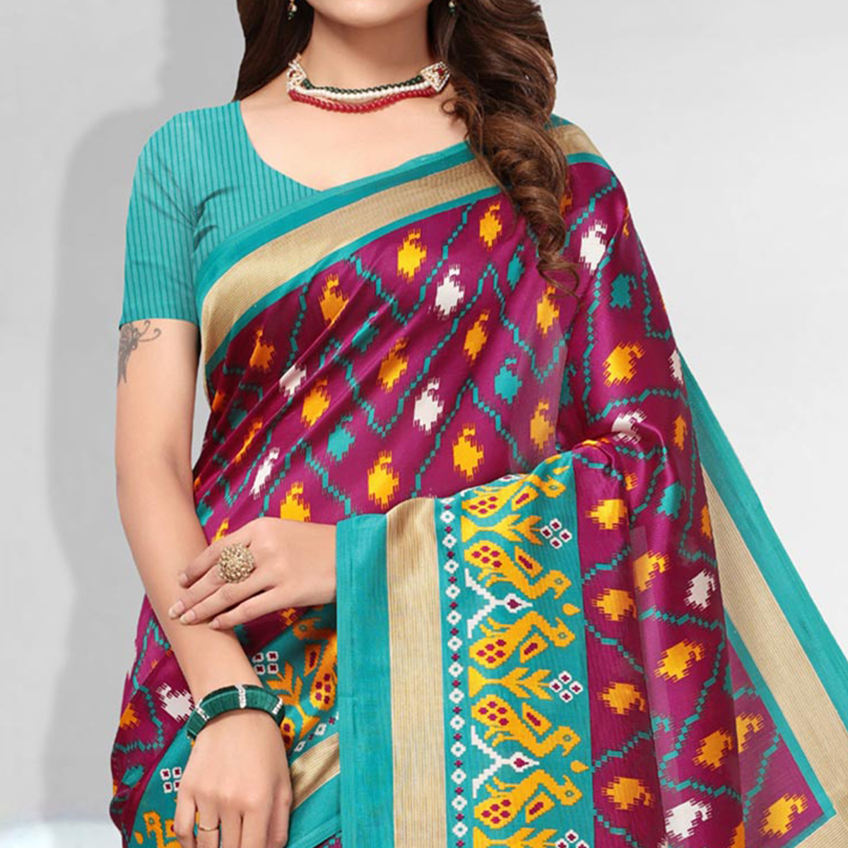 Pleasuring Pink Colored Festive Wear Art Silk Saree