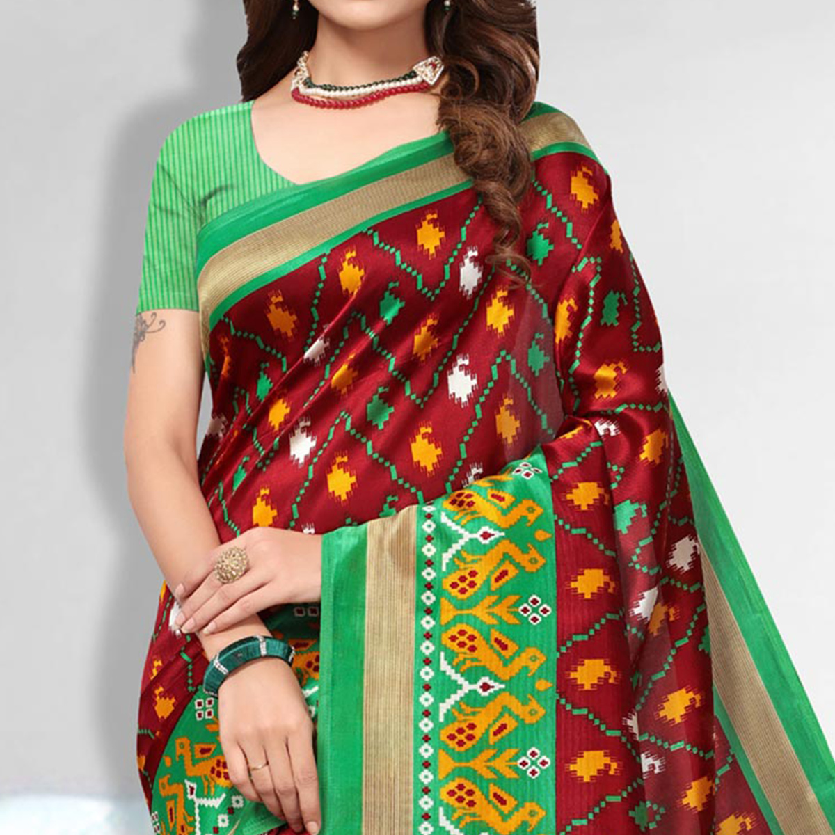 Magical Maroon Colored Festive Wear Art Silk Saree
