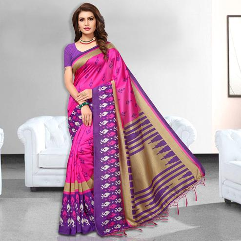 Bold Pink Colored Festive Wear Art Silk Saree