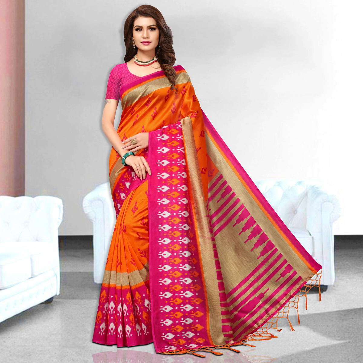 Radiant Orange Colored Festive Wear Art Silk Saree